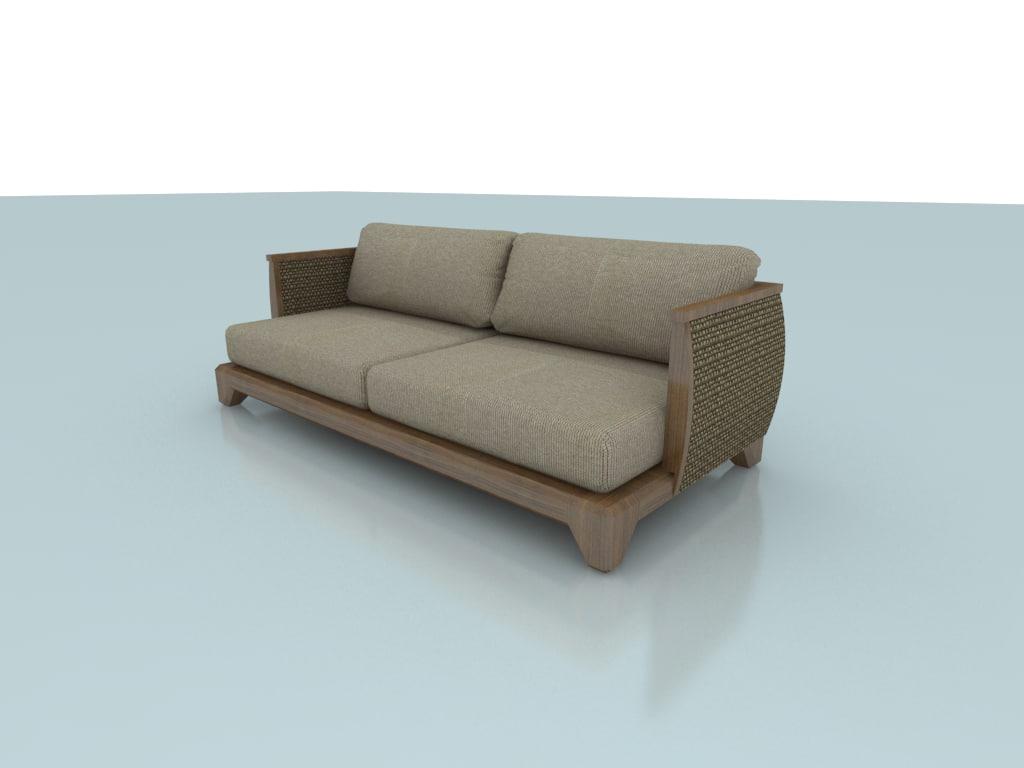 ryn sofa 2 seat 3d 3ds