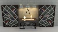3d concrete wood furniture model