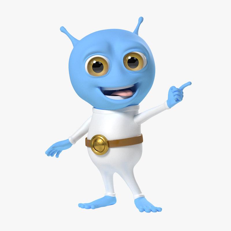 3d model alien cartoon albi rigged