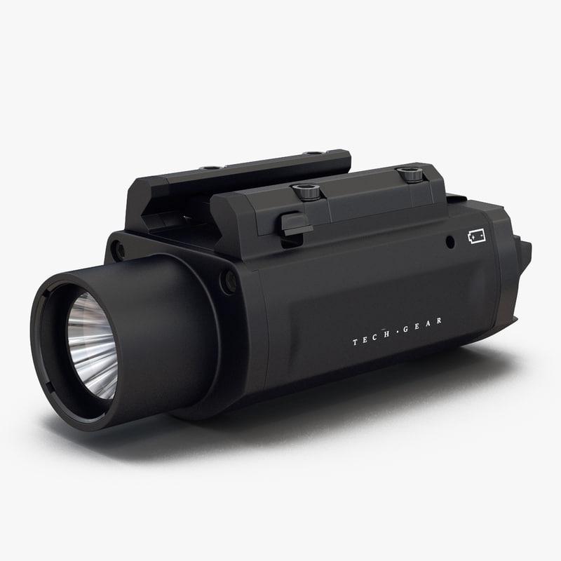 led tactical weapon light 3d c4d