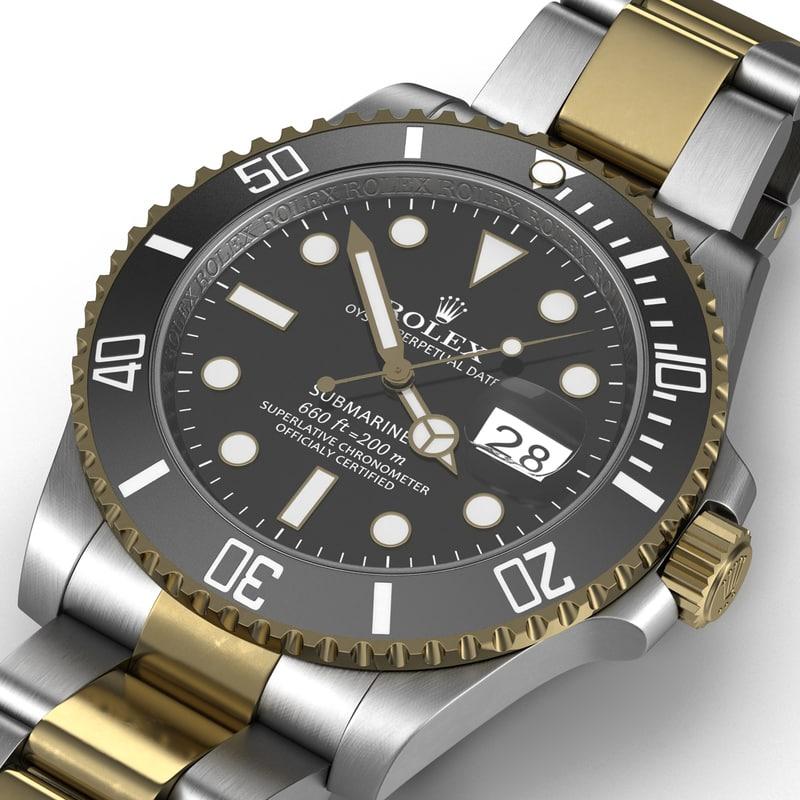3d rolex submariner date black model