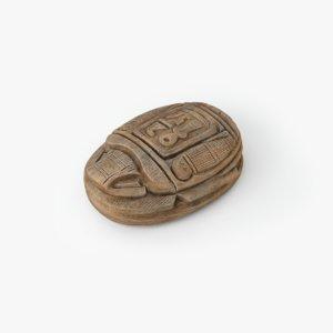 wooden scarab artifact obj