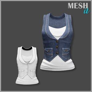 3d model vest jeans