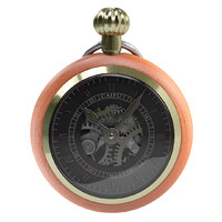 Golden Wooden Pocket Watch HD
