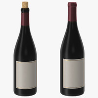 3d pinot noir bottle open model