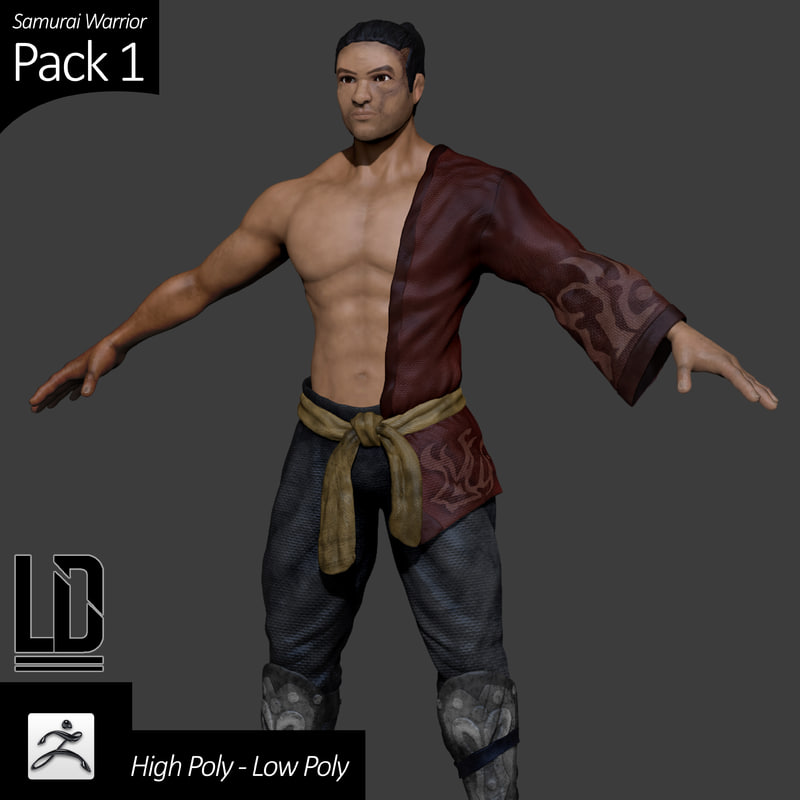3d samurai character pack - model