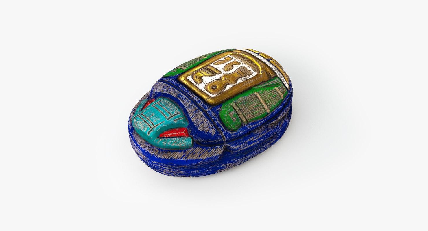 wooden scarab artifact 2 3d x