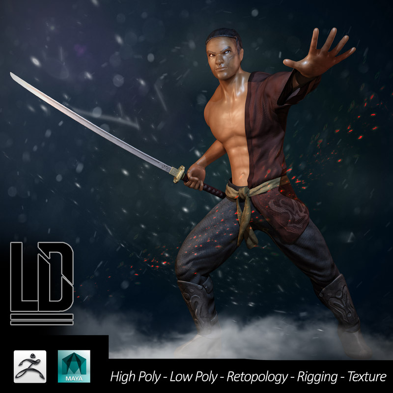 3d samurai - complete pack model