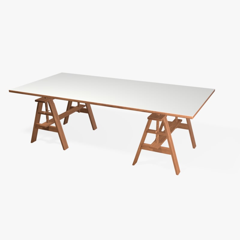 3d sawhorse wood table model