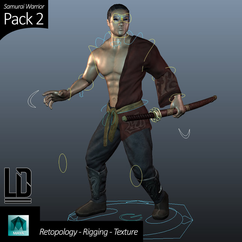 3d model of samurai character pack -