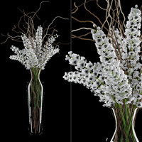 White delphinium in tall vase with willow branches