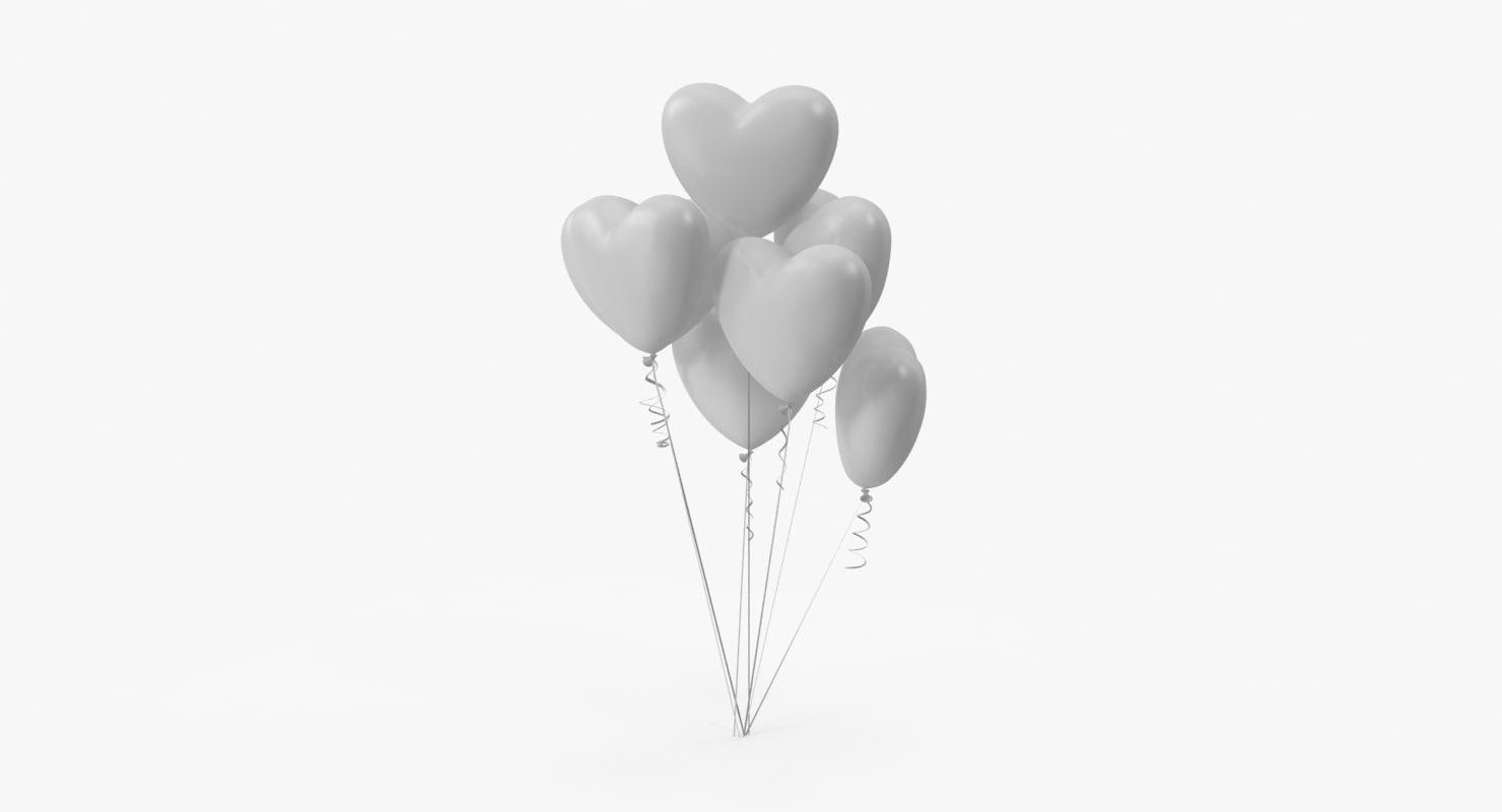 3d max bunch heart shaped balloons
