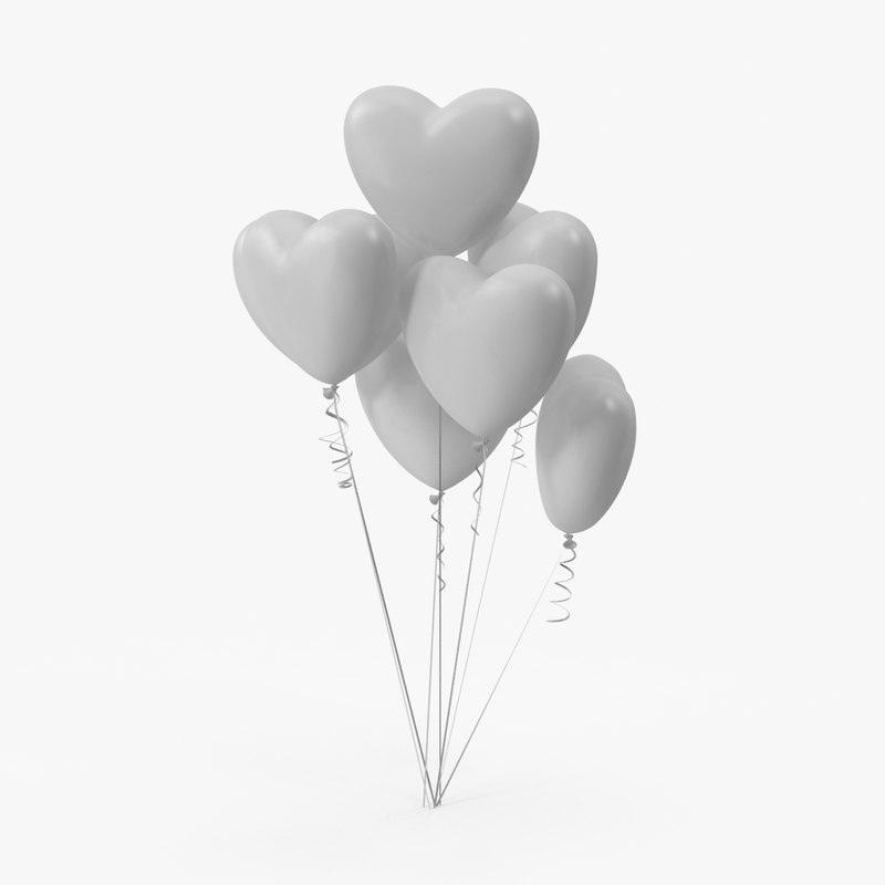 3d max bunch heart shaped balloons