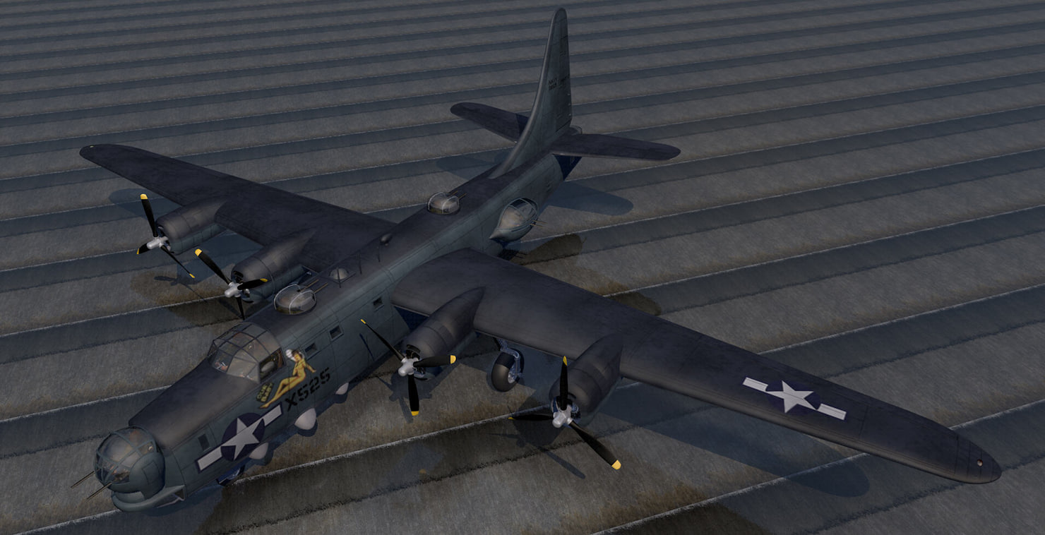 consolidated pb4y-2 privateer bomber 3d 3ds