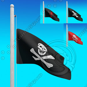 3d model flags pirates -