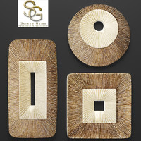 Concave Ribbed Plaque Wall Art - Set