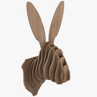 3d model cardboard rabbit head