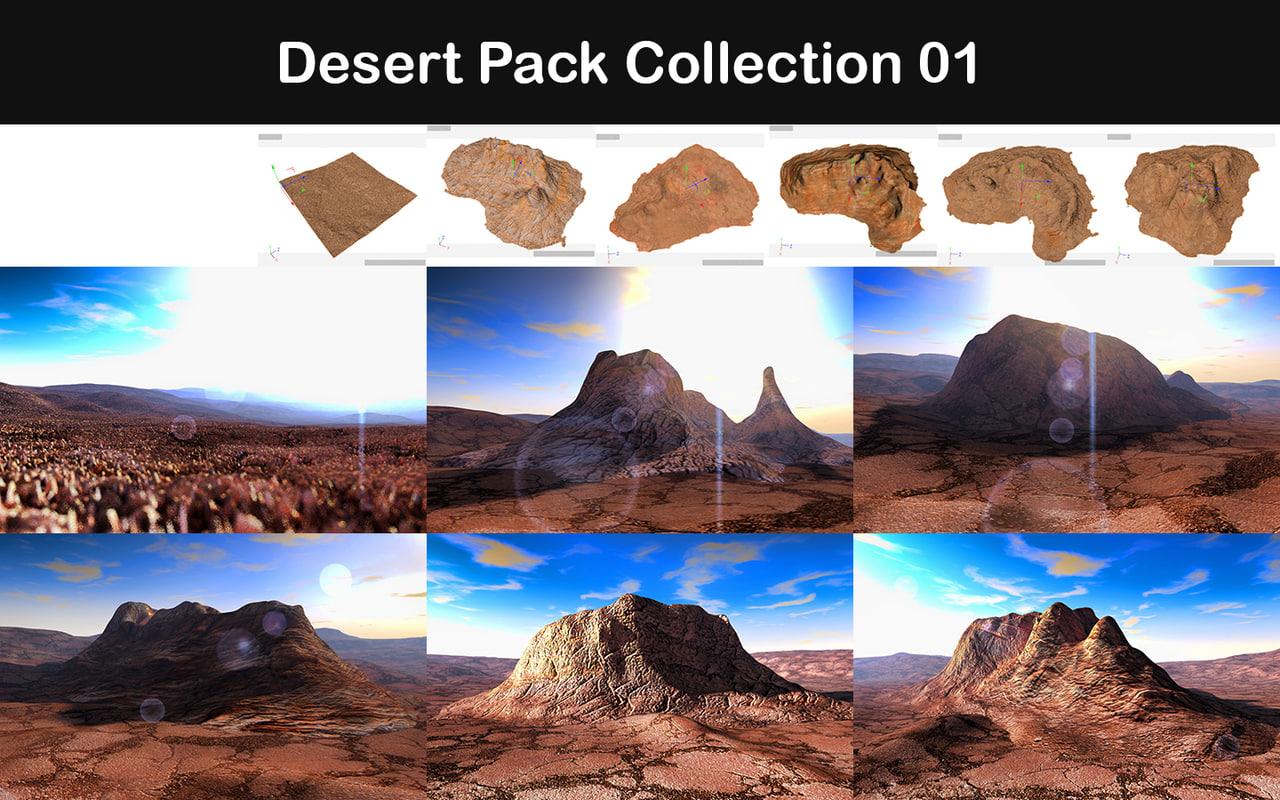 desert packed 3d model