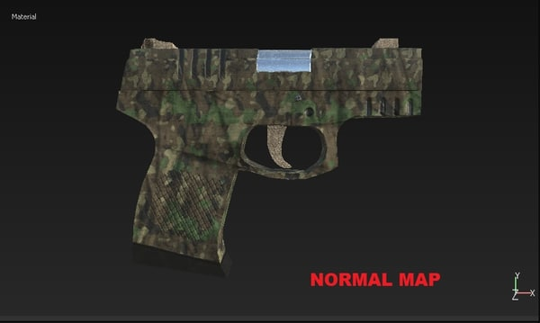pistol camouflaged 3d 3ds