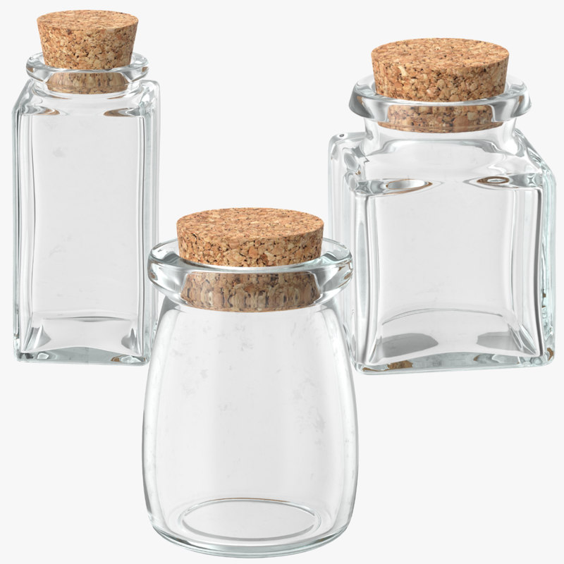 3d glass jars cork stoppers