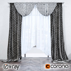 corona curtains 3d model