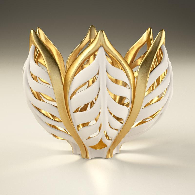 vase gilded wheat 3d model