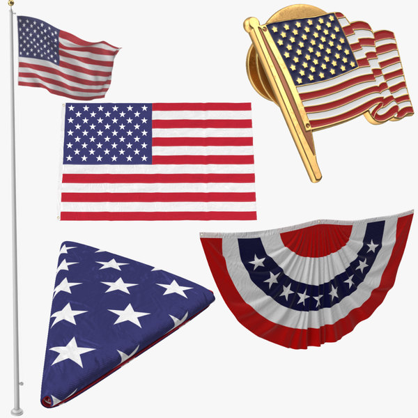 3d model 3 flag poses bunting
