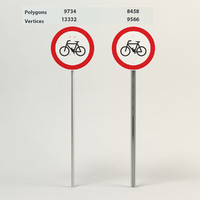traffic allowed bicycles sign 3d model