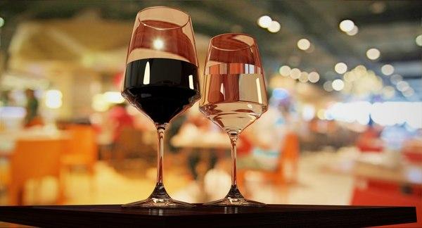 3d wine glasses glassware model