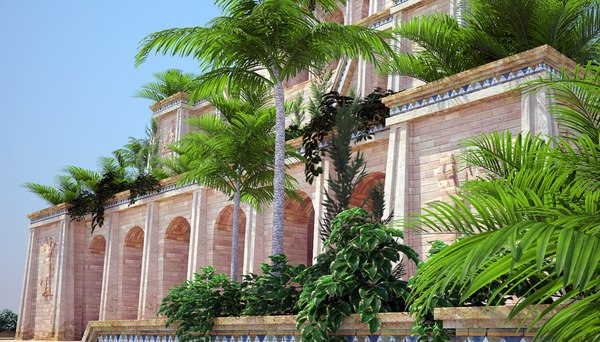ancient hanging gardens babylon 3d max