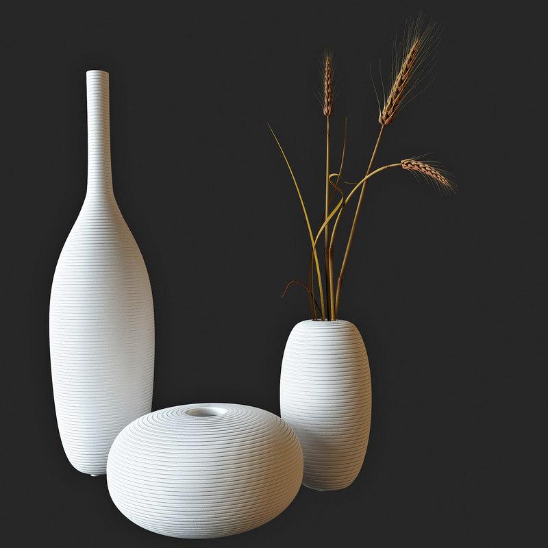 decor wheat vase 3d model