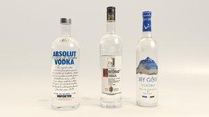 vodka absolut grey 3d model