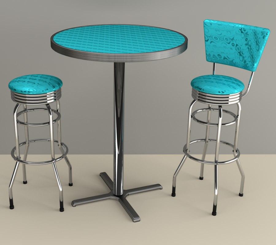50s barstool table 3d blend