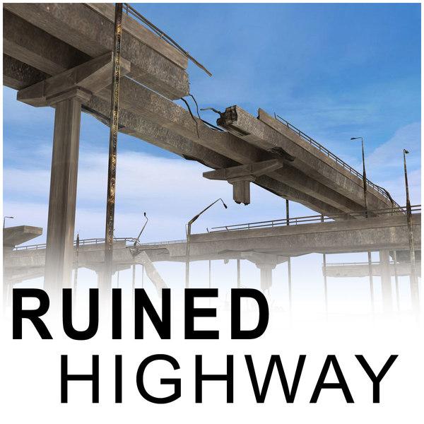 ruined highway bridges 3d model
