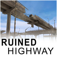 ruined highway bridges 3d model