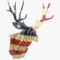 3d cardboard flag deer
