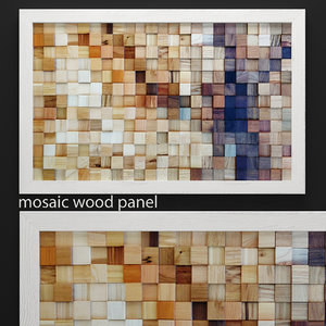 3d model mosaic wood panel