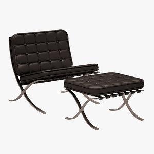 barcelona chair ottoman 3d model