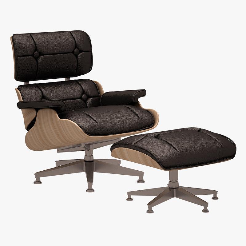 3d lounge chair ottoman