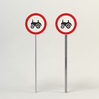 tractor road sign 3d obj