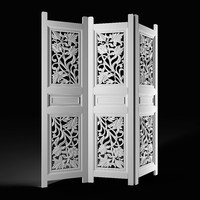 3d model folding screen carved