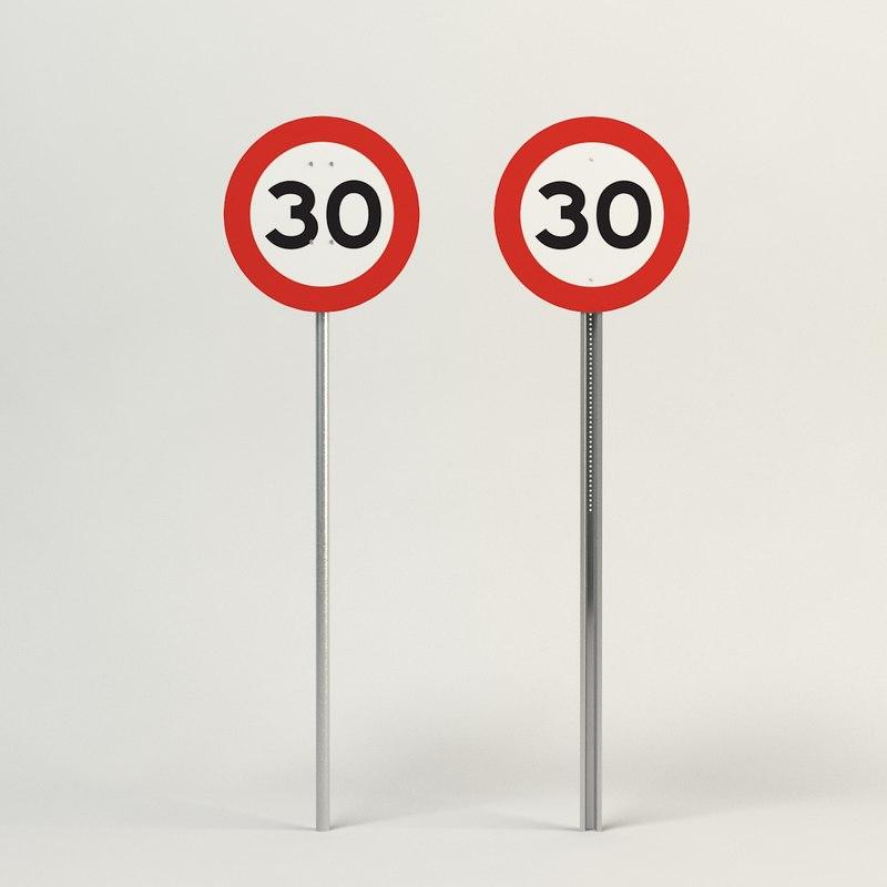 speed limit-30 3d model