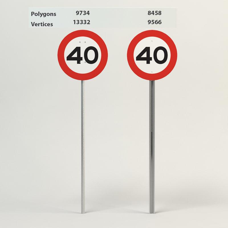 3d model speed limit-40