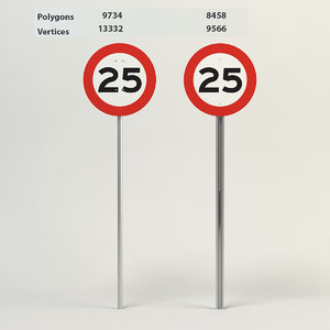 3d model speed limit-25