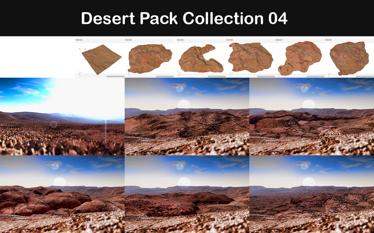 3d model desert packed