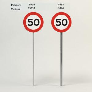 3d model speed limit-50