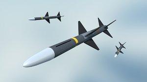 aim-7 sparrow missile 3d model
