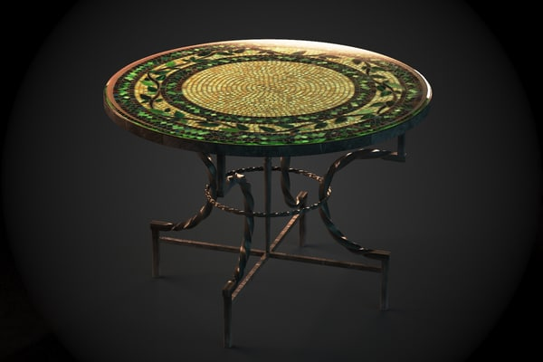 moroccan table tiled mosaic 3d model