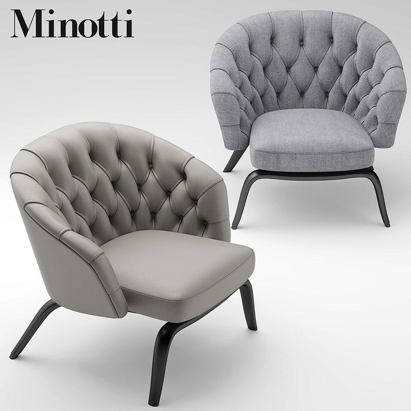 chair armchair minotti 3d model