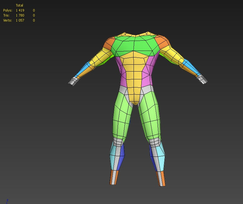 3d model topology man rigged skinned